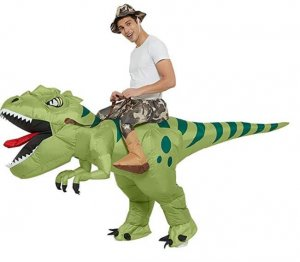 Green dinosaur costume for adults