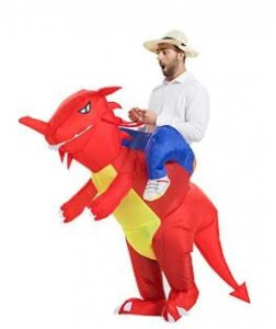 Riding red inflatable dinosaur costumes for adults realistic