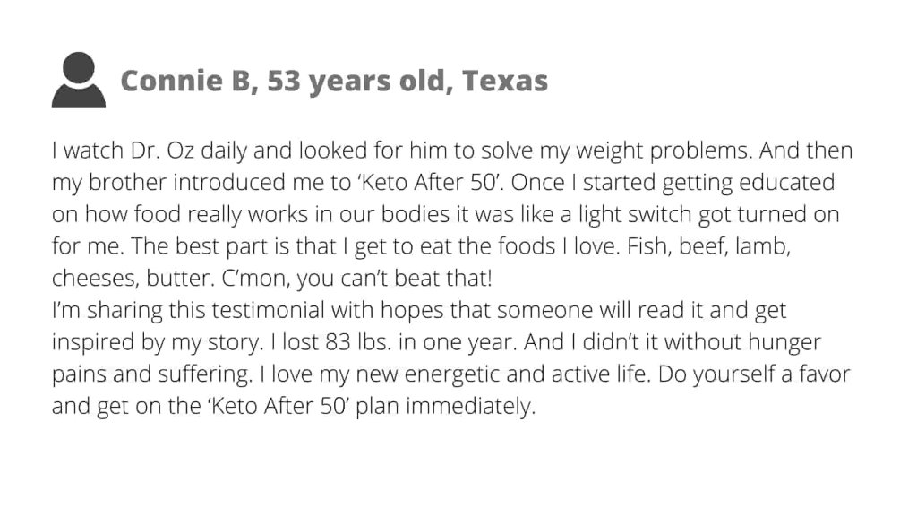 customer report keto after 50